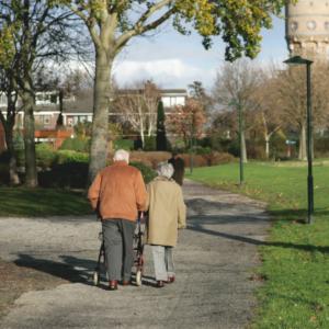 Old couple walking garden